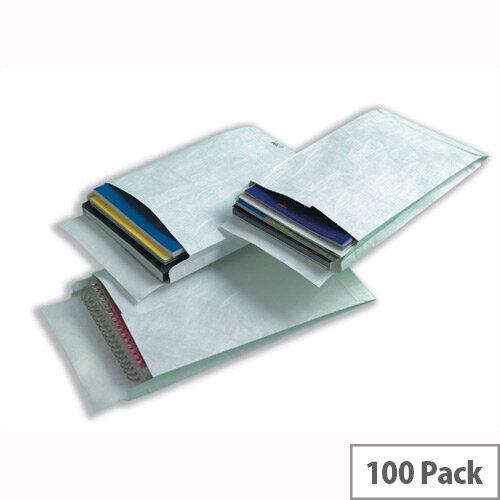 Tyvek 324x229x38mm Peel and Seal White Gusset Envelopes Pack of 100 Ref 755024