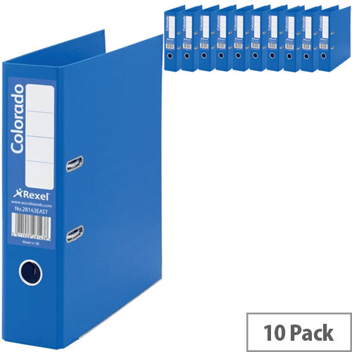 Rexel Colorado 80mm Blue A4 Lever Arch File Pack of 10