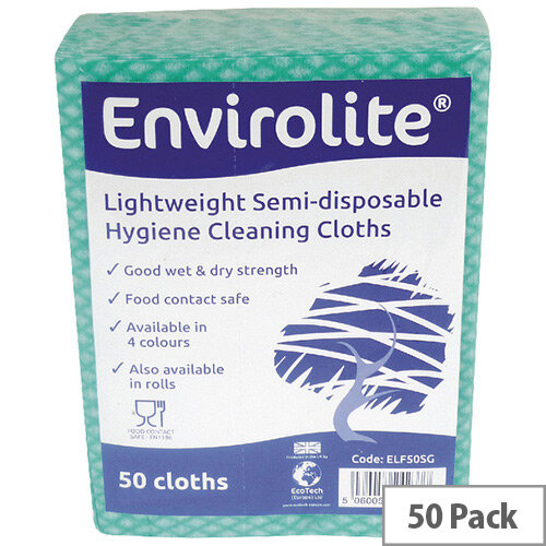 Envirolite 480x360mm Green Lightweight All Purpose Cloths 50 Pack ELF500