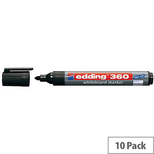 Edding 360 Drywipe Black Marker (Pack 10) 4-360001