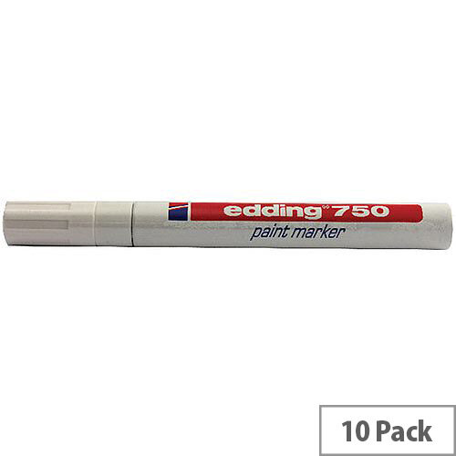 Pack of 10 750-049 Edding 750 Opaque White Bullet Tip Paint Marker