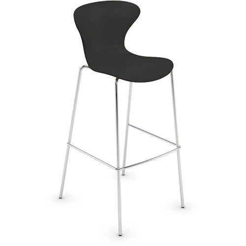 Frovi EGO Canteen Stool With Chrome 4 Leg Base H1120xW490xD550mm 790mm Seat Height Black