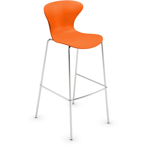 Frovi EGO Canteen Stool With Chrome 4 Leg Base H1120xW490xD550mm 790mm Seat Height Orange