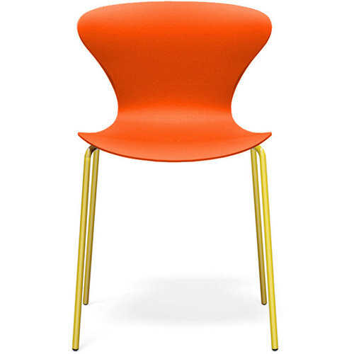 Frovi EGO Canteen Chair With Painted 4 Leg Base H800xW490xD510mm 470mm Seat Height Orange