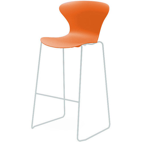 Frovi EGO Canteen Stool With Chrome Sled Base H1120xW530xD550mm 790mm Seat Height Orange