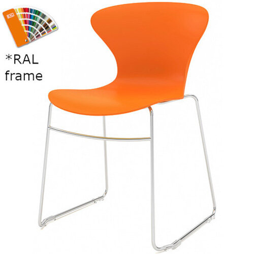 Frovi EGO Canteen Chair With Painted Sled Base H800xW530xD510mm 470mm Seat Height Orange