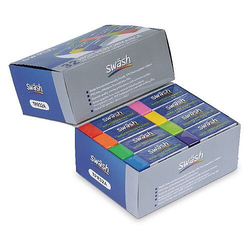 Eastpoint Swash Pack 32 Premium Pencil Erasers 8 Assorted Colours Tpr32A