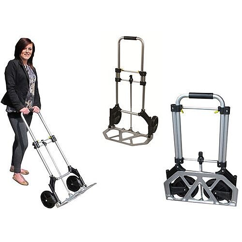Aluminium Folding Sack Truck Capacity 90Kg - Silver &Black In Colour. Ideal For Use In Warehouses, Businesses, Homes &More.