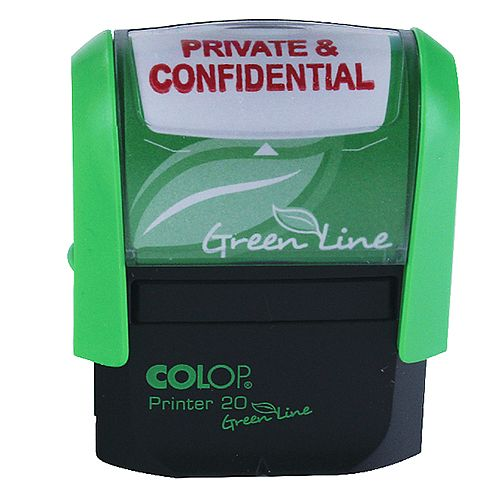 Colop Green Line Word Stamp PRIVATE &CONFIDENTIAL P20GLPRI
