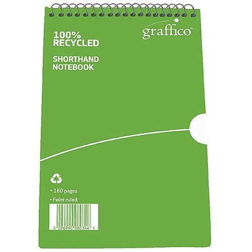 Graffico Recycled Shorthand Notebook Ruled 160 Pages 203 x 127mm 9100037