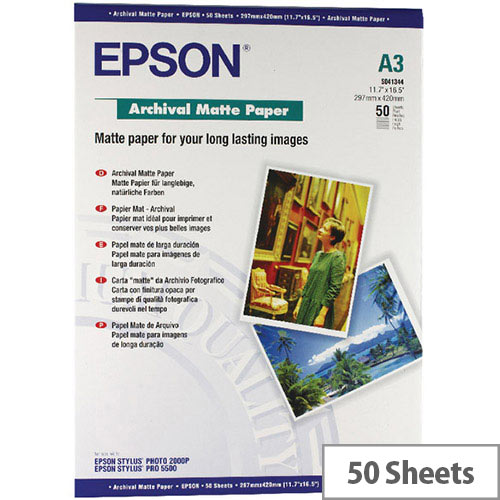 Epson Matte A3 Archival Inkjet Paper 192gsm (Pack of 50) C13S041344