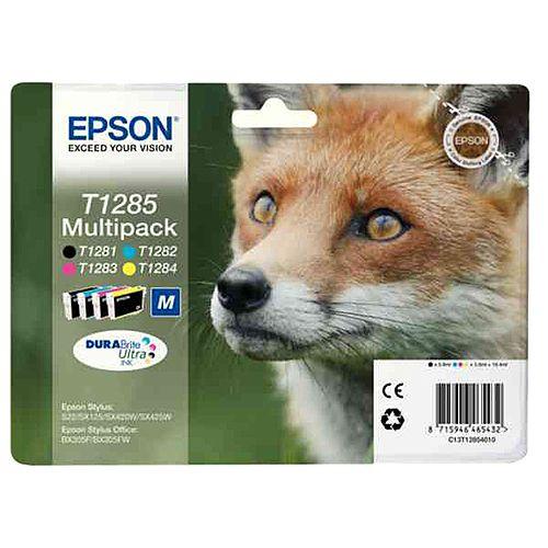 Epson T1285 4-Colour Ink Cartridges Fox Series C13T12854010 C13T12854012