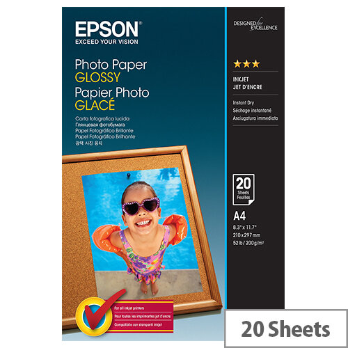 Epson A4 Glossy Photo Paper 200gsm (Pack of 20)