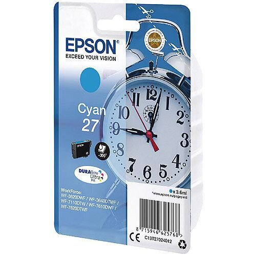 Epson Alarm Clock 27 Cyan Inkjet Cartridge (Pack of 1) C13T27024010 C13T27024012