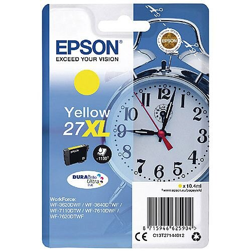 Epson Alarm Clock 27XL Yellow High Yield Inkjet Cartridge (Pack of 1) C13T27144010 C13T27144012