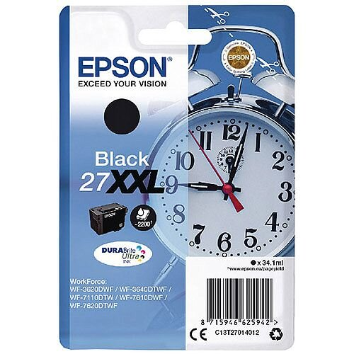 Epson Alarm Clock 27XXL Black Extra High Yield Inkjet Cartridge (Pack of 1) C13T27914010 C13T27914012