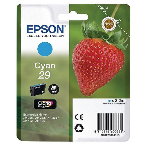 Epson 29 Cyan Inkjet Cartridge Strawberry Series - Standard Capacity 180 Pages - Original Epson Cartridge - C13T29824010 / T2982 C13T29824012