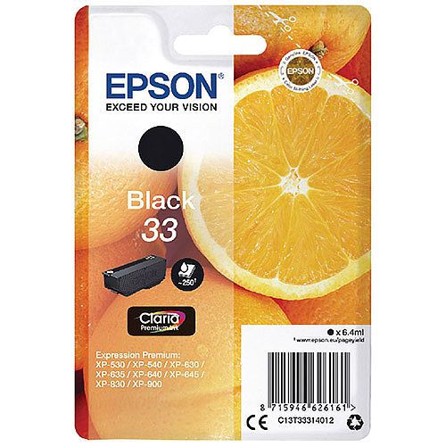 Epson 33 Black Inkjet Cartridge Orange Series C13T33314010 / T3331 C13T33314012