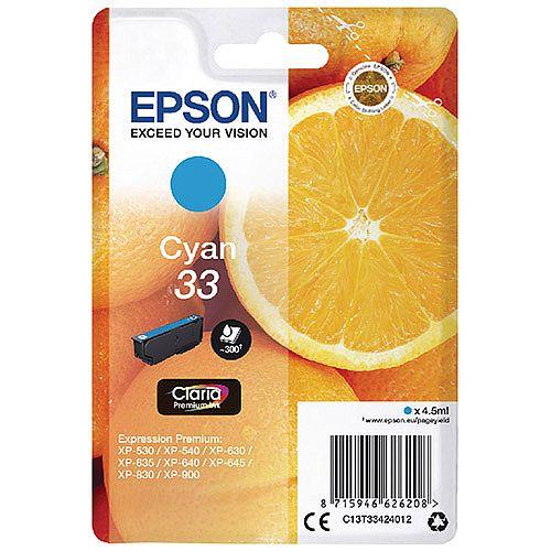 Epson 33 (T3342) Cyan Inkjet Cartridge C13T33424010 / T3342 C13T33424012
