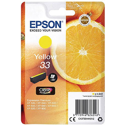 Epson 33 (T3343) Yellow Inkjet Cartridge C13T33434010 / T3343 C13T33444012