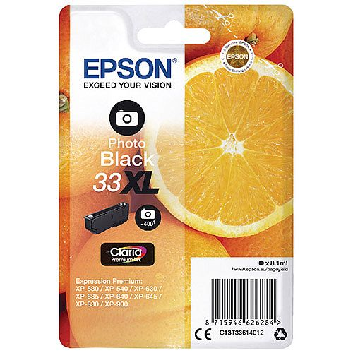 Epson 33XL Photo Black High Yield Inkjet Cartridge C13T33614010 / T3361 C13T33614012