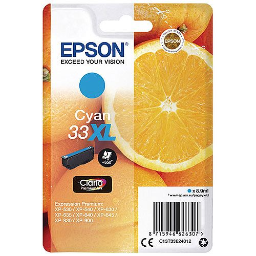 Epson 33XL Cyan High Yield Inkjet Cartridge C13T33624010 / T3362 C13T33624012