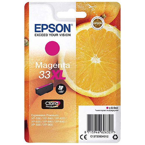 Epson 33XL Magenta High Yield Inkjet Cartridge C13T33634010 / T3363 C13T33634012