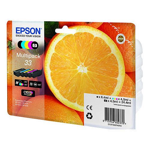 Epson 33 Black/Photo Black/Cyan/Magenta/Yellow Inkjet Cartridge Value Pack C13T33374010 / T3337