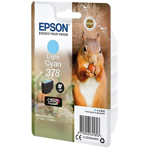 Epson 378 (T3785) Light Cyan Original Inkjet Cartridge Capacity 360+ Pages C13T37854010