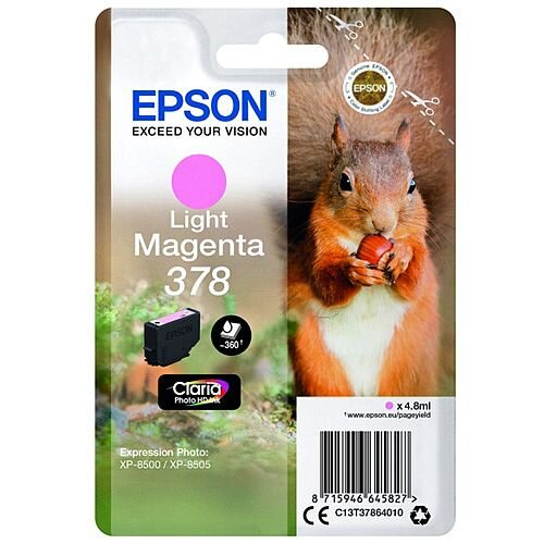 Epson 378 (T3786) Light Magenta Original Inkjet Cartridge Capacity 360+ Pages C13T37864010