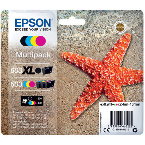 Epson Starfish 603XL Black/603 CMY Ink Multipack C13T03A94010