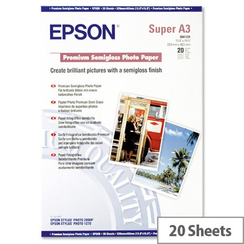 Epson A3+ Semi-Gloss Premium Photo Paper (Pack of 20)