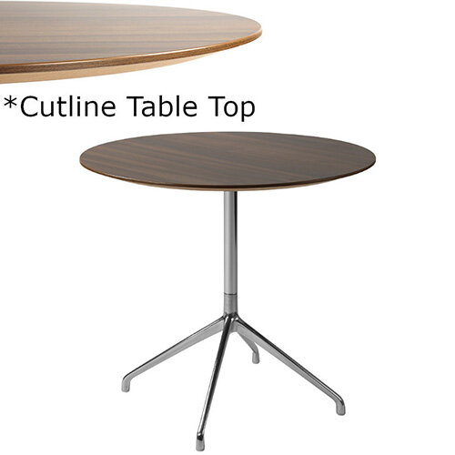 Frovi ERA Round Canteen Table With 4 Star Chrome Base &Cutline Top Dia600xH730mm - Thin-Cut Appearance Laminated Surface For Heavy-Use Areas