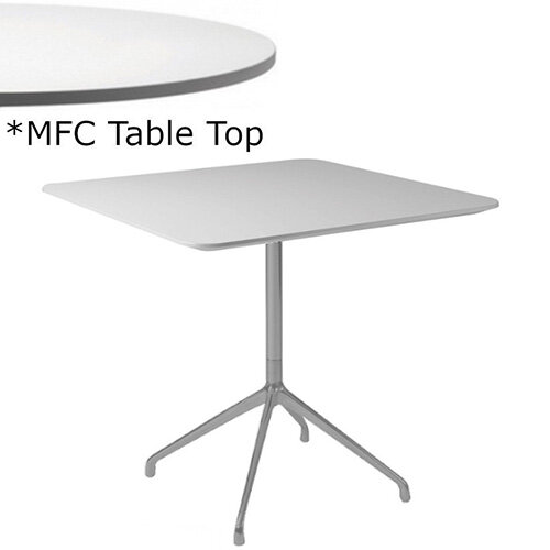 Frovi ERA Square Canteen Table With 4 Star Chrome Base &MFC Top W800xD800xH730mm - Minimalist Design MFC Melamine Surface