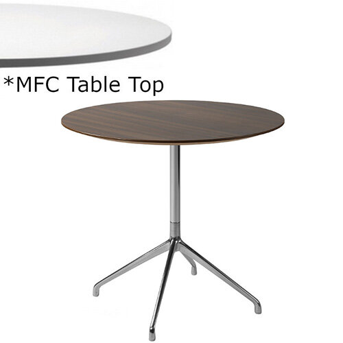 Frovi ERA Round Canteen Table With 4 Star Chrome Base &MFC Top Dia800xH730mm - Minimalist Design MFC Melamine Surface