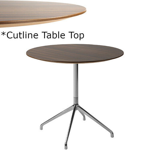 Frovi ERA Round Canteen Table With 4 Star Chrome Base &Cutline Top Dia900xH730mm - Thin-Cut Appearance Laminated Surface For Heavy-Use Areas