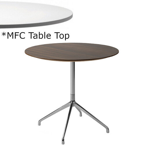 Frovi ERA Round Canteen Table With 4 Star Chrome Base &MFC Top Dia900xH730mm - Minimalist Design MFC Melamine Surface