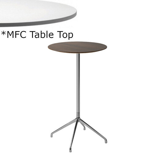 Frovi ERA Round Canteen Poseur Table With 4 Star Chrome Base &MFC Top Dia600xH1100mm - Minimalist Design MFC Melamine Surface