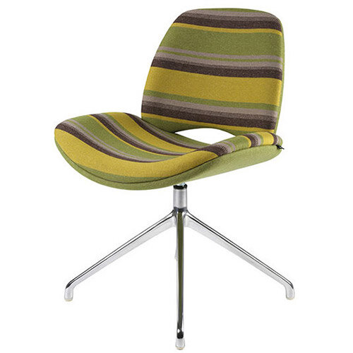 Frovi ERA Fully Upholstered Chair With 4 Star Swivel Polished Aluminium Base H800xW580xD590mm 460mm Seat Height - Fabric Band F