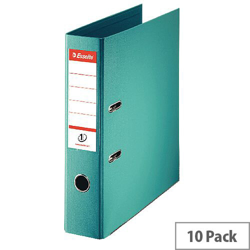 Esselte A4 Polypropylene 75mm Turquoise Lever Arch File Pack of 10 811550