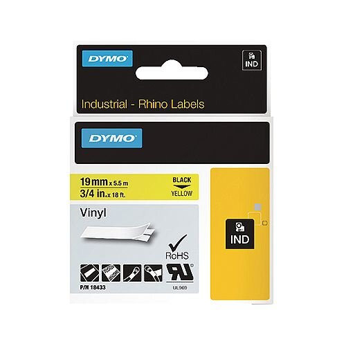 Dymo Rhino Coloured Vinyl Labels Yellow 19mm x 5.5m 18433