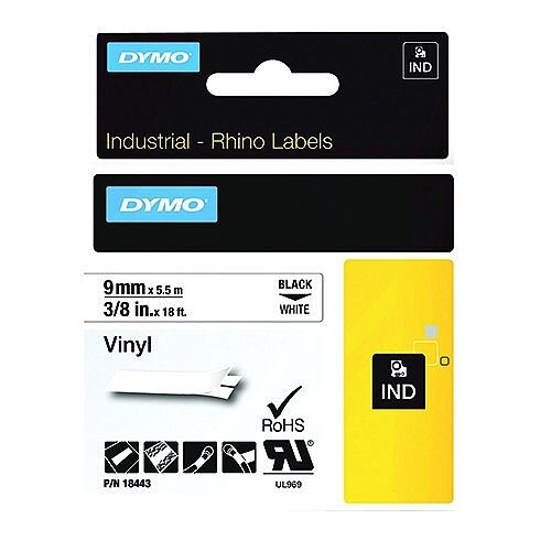 Dymo RhinoPRO 18443 Industrial Tape 1500 Coloured Vinyl 9mm White S0718580