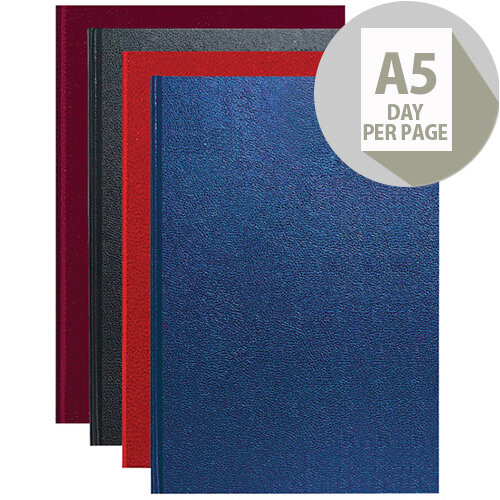 Essentials 2020 Appointment Diary Day to Page Casebound and Sewn Vinyl Coated Board A5 Assorted Colour