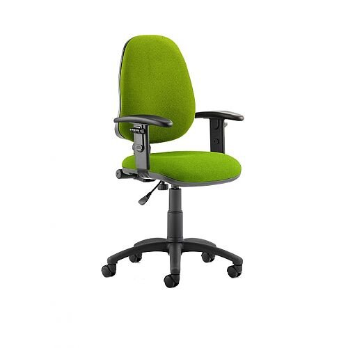 Eclipse I Lever Task Operator Office Chair With Height Adjustable Arms In Swizzle Green