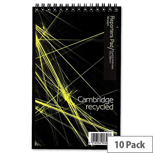 Cambridge Recycled 200 x 125 Wirebound Notebook Headbound Ruled 160 Pages Pack 10