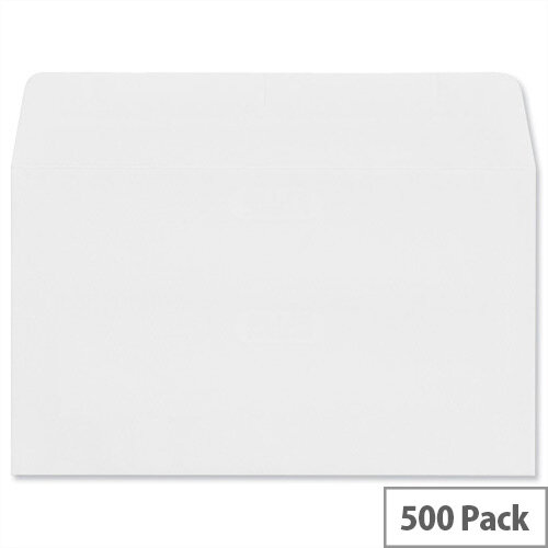 Plus Fabric Wallet Envelopes 89x152mm 110gsm Self Seal White Pack of 500