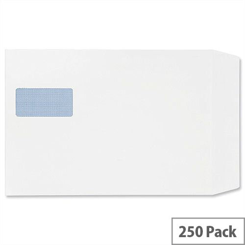 Plus Fabric C4 White Vertical Window Envelopes Peel and Seal Pocket 120gsm (Pack of 250)