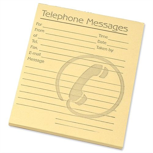 Telephone Message Pad Yellow 80 Sheets 127x102mm Pack 10 Challenge