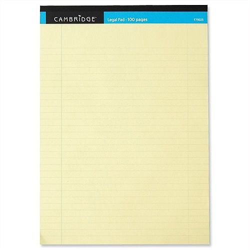 Cambridge A4 Legal Pad 100 Pages Yellow F79025 Pack 10