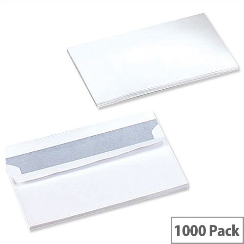 5 Star Office White DL Envelopes Self Seal Wallet 90gsm Pack of 1000